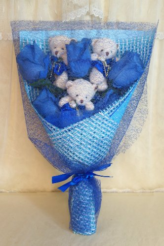 Sweet Home Deco 17'' Silk Blue Rose and Plush Bear Bouquet for Valentine's Day Gifts (Navy Blue)