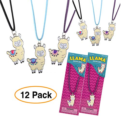 Llama/Alpaca Necklace w/pendant for Party Favors Supply Colorful (12 Pack) Detailed Engraved Metal