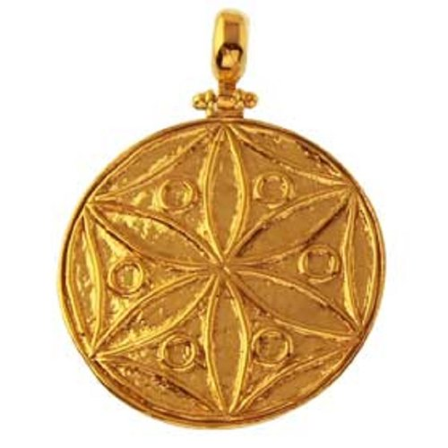 - Ancient Greek 24K Gold Plated Sterling Silver Pendant - Rosette Motif (32mm)