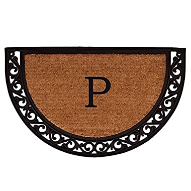 Home & More 100101830P Ornate Scroll Doormat, 18  x 30  x 1 , Monogrammed Letter P, Natural/Black