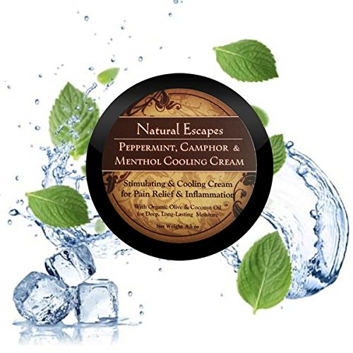 Organic Peppermint, Camphor & Menthol Cooling Cream | Natural Pain Relief Cream for Arthritis, Shingles, Foot Pain, Sciatica & More | Anti-Inflammatory Cream | 8.5 ()