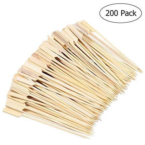 ROSENICE 200pcs Barbecue Bamboo Skewers Natural Wood Roasting Sticks Wooden Skewer for BBQ Use Fruit Toothpicks Party Supplies -