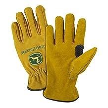 John Deere JD00004 Split Cowhide Leather Gloves, XL, Tan
