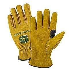 John Deere JD00004 Split Cowhide Leather Gloves, Large, Tan