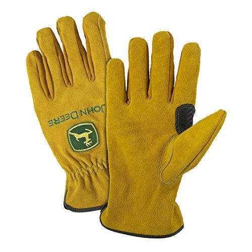 John Deere JD00004 Split Cowhide Leather Gloves, Large, Tan from John Deere