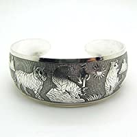 Hot! New Tibetan Tibet silver White Tiger Totem Bangle Cuff Bracelet