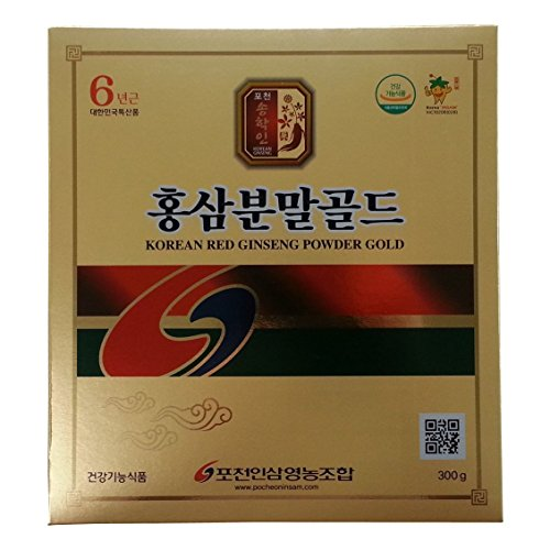 Pocheon 300g Korean Red Ginseng Roots Powder Gold 6 Years, No Additives 100% Pure, High Ginsenoside Panax by Pocheon Ginseng Farmer Association