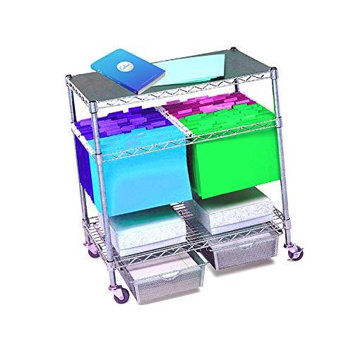 (Rolling File Cart Legal Size Hanging Folder on Wheels Storage Mobile Tier Baskets Organizer Heavy DutySteel & eBook)