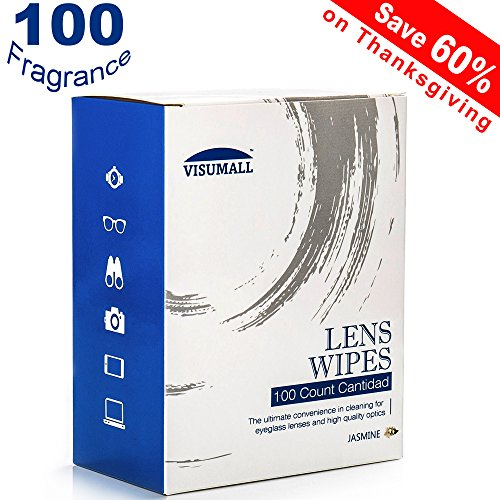 Price comparison product image VISUMALL 100 Pre-Moistened Lens Cleaning Wipes Portable Travel Cleaner with Fragrance Nonirritating for Cleaning Dust Camera Watch Glass Smart Phone and iPad Screen (Jasmine)