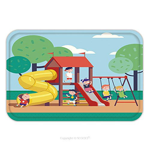 Flannel Microfiber Non-slip Rubber Backing Soft Absorbent Doormat Mat Rug Carpet Group Of Kids Playing Game On A Town Public Park Playground With Swings Slides Tube And House 425812738 for - Park Kids Jacksonville