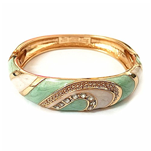 UJOY Colorful Cloisonne Bracelet Jewelry Enamel Handcraft Gold Spring Hinge Birthday Vacation Party Gifts Womens Bangles 88A26 White-Green