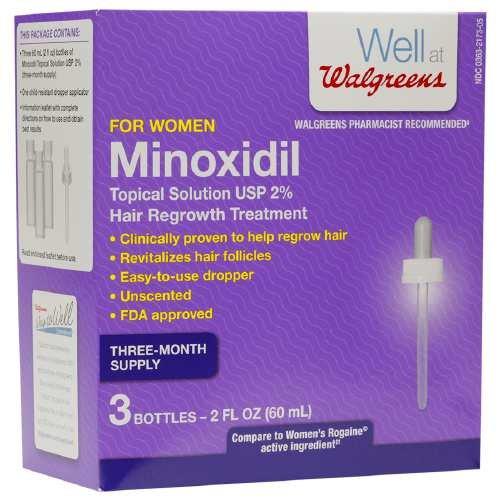 Walgreens Minoxidil Hair Regrowth Treatment for Women 2 oz (Pack of 3)