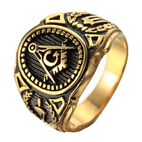 mens-stainless-steel-ringfreemason-masonicgold-black