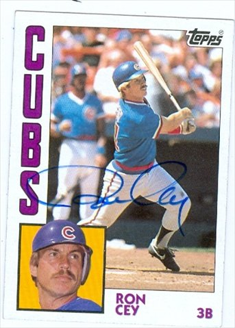 Autograph Warehouse 38647 Ron Cey Autographed Baseball Card Chicago Cubs 1984 Topps No. 357 67 Ron Cey Baseball