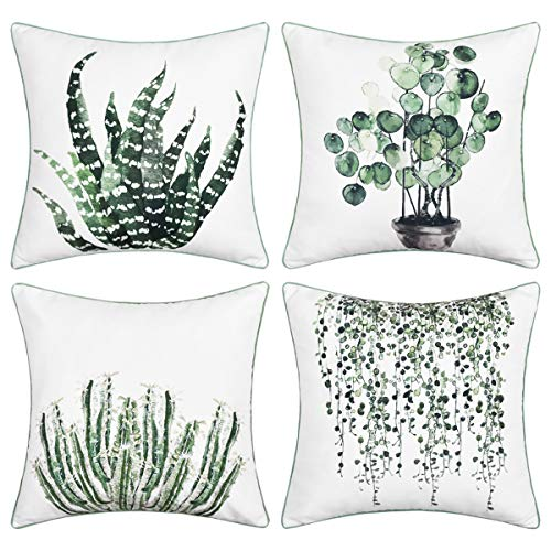 BLEUM CADE Green Plants Throw Pillow Cover Piping Decorative Square Pillow Cover Cushion Cover Set of 4 Perfect Decor or Gift for Families Friends Home Office Sofa Car