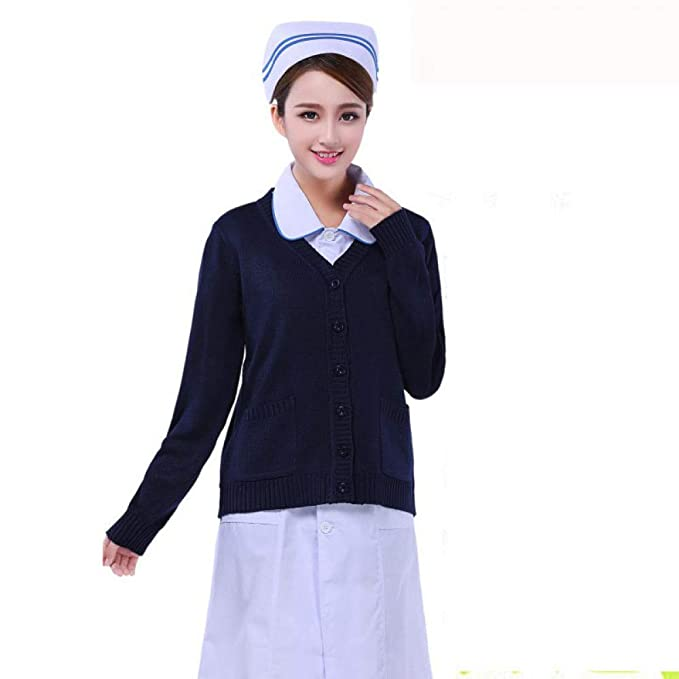 ESENHUANG Enfermera Médica Cardigan Sweater Coat Hospital Uniforms Warm Sweater Escudo Slim Fit Escudo con Cuello En V Enfermera Coat: Amazon.es: Ropa y ...