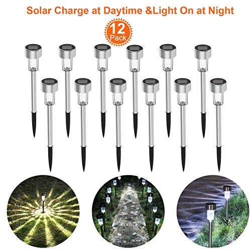 Solar Lights Outdoor Solar Driveway Lights 12Pack Stainless Steel LED Solar Pathway Lights Solar Lawn Light for Lawn Patio Yard Walkway Driveway Warm White