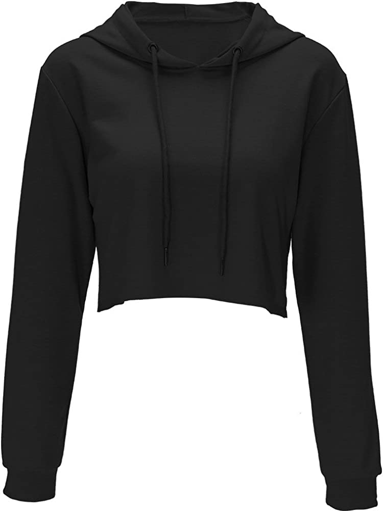 Hoodies for Women Workout Crop Top Hoodie Hooded Pullover Sweatshirt