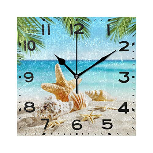 Naanle 3D Tropical Seashells Starfish on Summer Beach Sand Silent Square Wall Clock, 8 Inch Battery Operated Quartz Analog Quiet Desk Clock for Home,Office,School