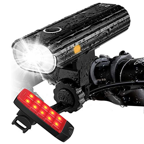 Te-Rich Rechargeable Bike Lights Front and Back - Ultra Bright Bicycle Headlight and Taillight Set, Quick Release Cycling Flashlight, Road/Mountain/City Bike Accessories for Men/Women/Kids ()