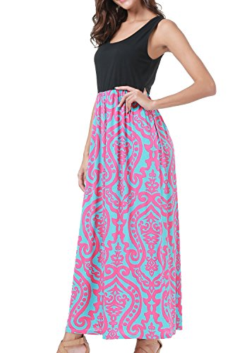 Fariry Tank Red Maxi Long Casual Women Summer Pleated Swing Rose Dress Loose Simier FpwqdZd