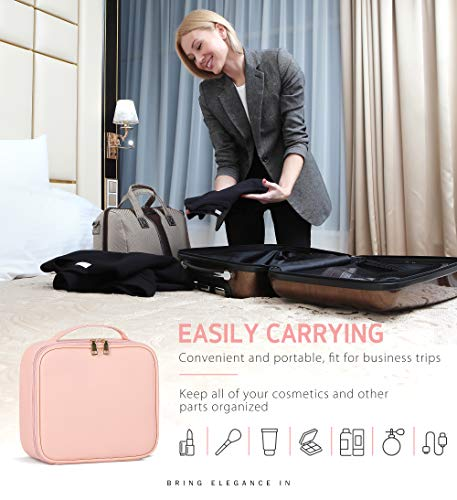 Syntus Travel Makeup Bag with Mirror, PU Leather Portable Train Cosmetic Case Organizer with Adjustable Dividers Large Capacity for Cosmetic Makeup Brushes Toiletry Jewelry Digital Accessories, Pink
