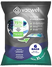 """Vacwel Jumbo Vacuum Storage Bags for Clothes, Quilts, Pillows, Space Saver Size 43x30"""" Extra Strong (Pack of 6)"""