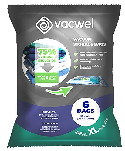 Vacwel Jumbo Vacuum Storage Bags for Clothes, Quilts, Pillows, Space Saver Size 43x30