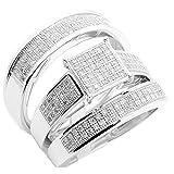 10k White Gold Trio Wedding Rings Set Square Shaped Top 3pc Set 0.6cttw Diamonds