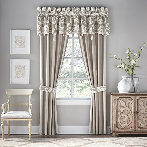 Croscill Stripes Curtain - Croscill Anessa Taupe and Ivory Striped Jacquard Curtain Panel Pair, 82
