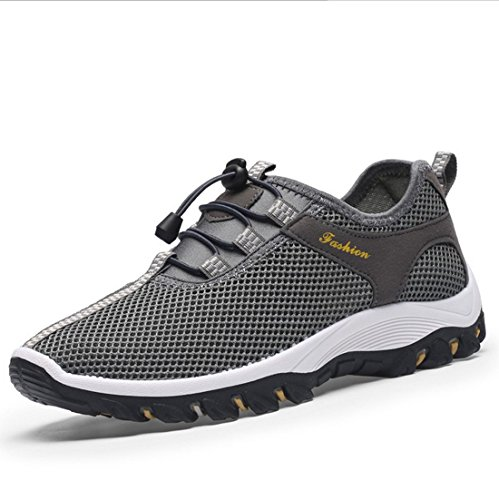 Elwow Men's Breathable Mesh Slip On Loafers Athletic Outdoor Sports Running Shoes, Hiking Shoes, Walk Track Exercise Field Sneakers Deep Grey