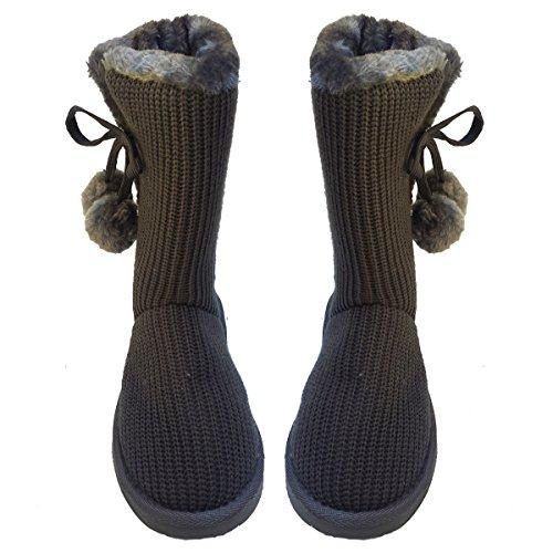 Crochet De Tricot Classique Élégant Femmes Crochet, Fausse Fourrure Doublée Mi-mollet Gris Bottes Plates Gris
