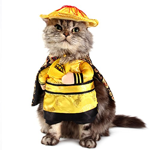 Creative Nurse Halloween Costumes (Pet Costume, Legendog Pet Funny Clothes Creative Nurse Policeman Emperor Dog Costume Clothes Cat Uniform with Hat (S-XL) (M, Yellow))