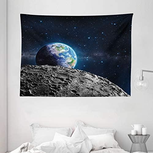 Ambesonne Galaxy Tapestry, View of Earth Globe from The Moon Surface Out Space Dark Matter Galaxy Theme Print, Wide Wall Hanging for Bedroom Living Room Dorm, 80 X 60 , Grey Blue