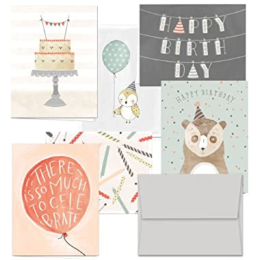 Fanciful Birthday Wishes - 36 Birthday Cards- 6 Designs - Blank Cards - Gray Envelopes Included