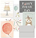 Office Products : Fanciful Birthday Wishes - 36 Birthday Cards- 6 Designs - Blank Cards - Gray Envelopes Included