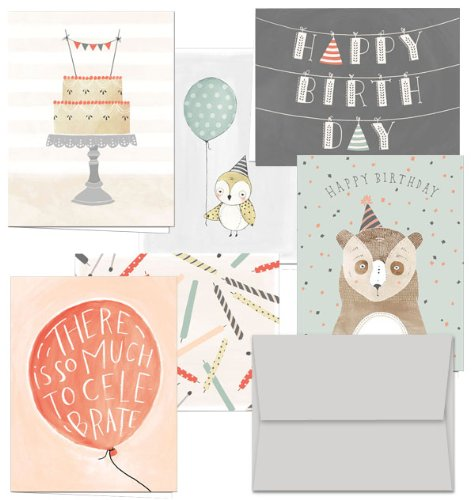 Fanciful Birthday Wishes - 36 Birthday Cards- 6 Designs - Blank Cards - Gray Envelopes Included (Birthday Care)