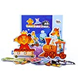 Joan Miro Floor Block Jigsaw Puzzle;Big Size Large Piece Cardboard Jigsaw,18 Pieces, Chunk Puzzles For Preschoolers Kids;Birthday Gift Play Toy (Train travel)