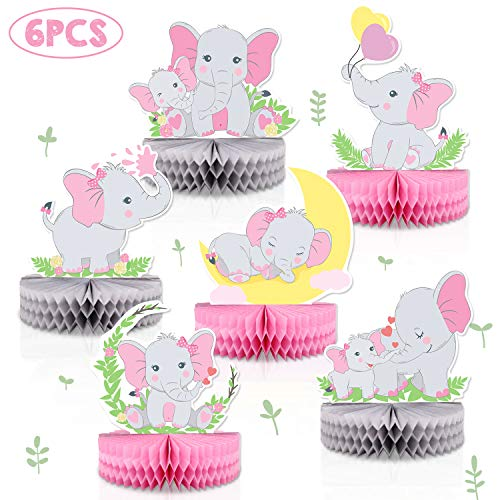 Baby Girl Elephant Theme (6 PCS Pink Elephant Honeycomb Centerpieces Baby Girl It's A Girl Table Decorations Pink Little Peanut Cutouts For Pink Elephant Theme Baby Shower Birthday Party)