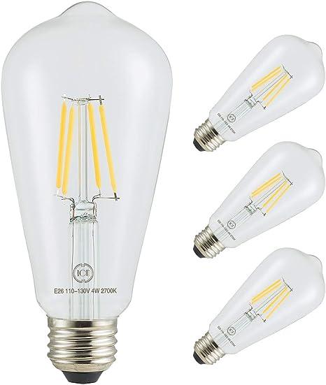 Led Filament Bulb Retro Vintage Edison Style St64 Dimmable E26 Medium Base Warm Color Light 450 Lumens 40 Watt Incandescent Equivalent Clear Color Glass 4 Watt Pack Of 4 Amazon Com