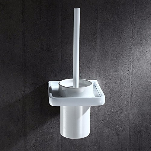 HYP Scandinavian space aluminum hotel white toilet brush set European-style bathroom white toilet brush holder bathroom toilet brush