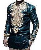 Bbalizko Mens African Print Long Sleeve Stand Collar Slim Fit Dashiki Shirt Tops