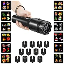 Party LED Projector Light, 2 in 1 Party Yard Decoration Film Lamp & Portable Flashlight 12pcs Cards Slides Light Projector for Christmas, Easter, Halloween, Thanksgiving, Birthday and Other Holidays