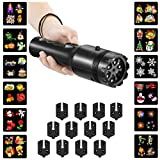 Winique LED Projector Light, 2 in 1 Party Decoration Film Flashlight & Handheld Torch 12pcs Switchable Slides Yard Garden Light Show Projector for Christmas, Birthday, Halloween,Easter, Other Holiday