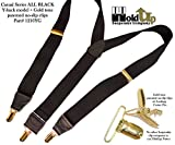 Hold-Ups Y-back All Black Casual Series Holdup Suspenders Patented No-Slip Gold Clips