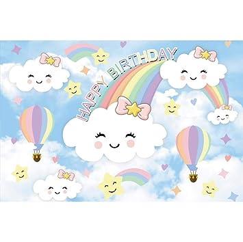 Cassisy 1,5x1m Vinilo Cumpleaños Telon de Fondo Feliz CUMPLEAÑOS Nubes de Dibujos Animados Rainbow Hot Globos De Aire Fondos para Fotografia Party ...