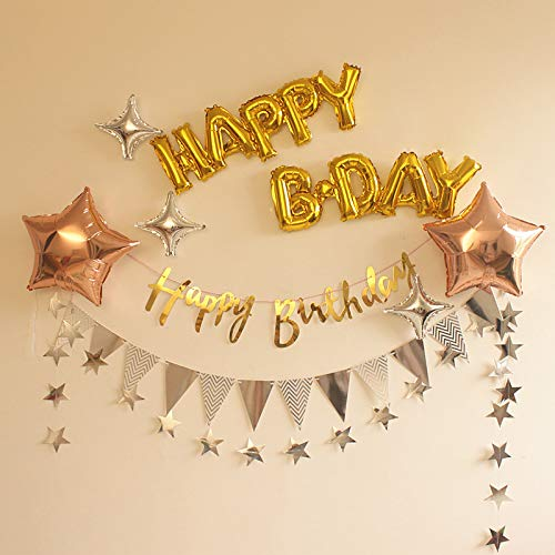 B Day Ballons (Happy Bday Stars Foil Balloons Paper Garland Bunting Banner Hanging for Birthday Party Show Window Dressing Anniversary Decoration (Happy)