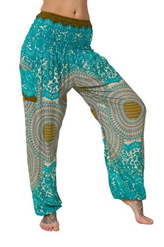 HAREM pantaloni - ALADDIN HIPPIE pantaloni con 18 motivi diversi Alt Turquoise