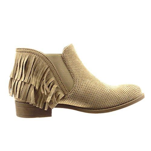 Sopily - Chaussure Mode Bottine chelsea boots Cheville femmes frange perforée Talon bloc 3 CM - Taupe