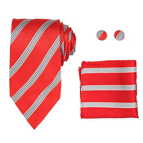 Y&G H8027 Christmas Day Crimson Striped Silver Economics Goods Silk Tie Cufflinks Hanky Set -